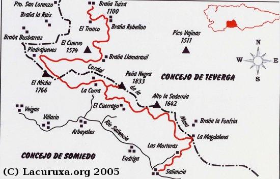mapa de la ruta